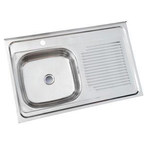 Lavaplatos Sobreponer 800 x 500 mm Monoblock Derecho c/Rebalse Inox