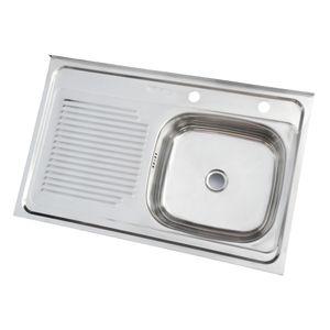 Lavaplatos Sobreponer 800 x 500 mm Izquierdo c/Rebalse Inox