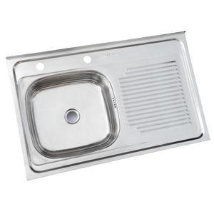 Lavaplatos Sobreponer 800 x 500 mm Derecho c/Rebalse Inox