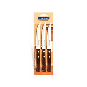 Pack cuchillos asado 3 un mango madera Ipé Tradicional tramontina Madera rojiza